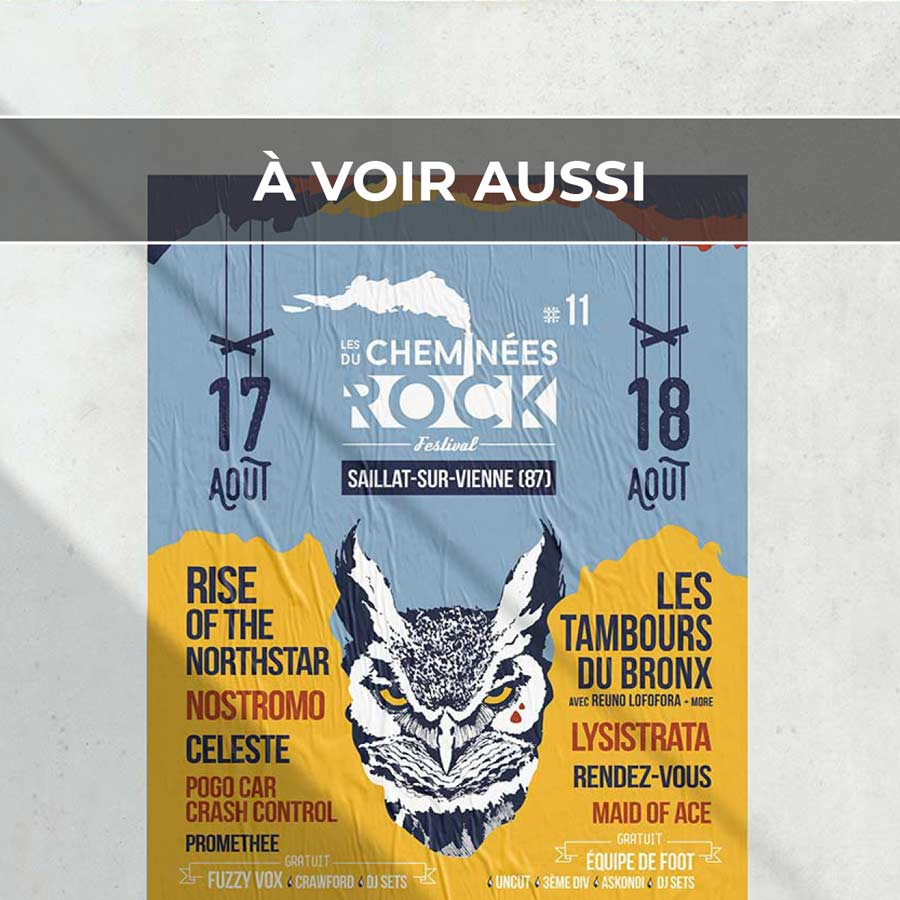 Renvoi au projet de communication visuelle globale pour le festival Les Cheminées du Rock, à Saillat-sur-Vienne