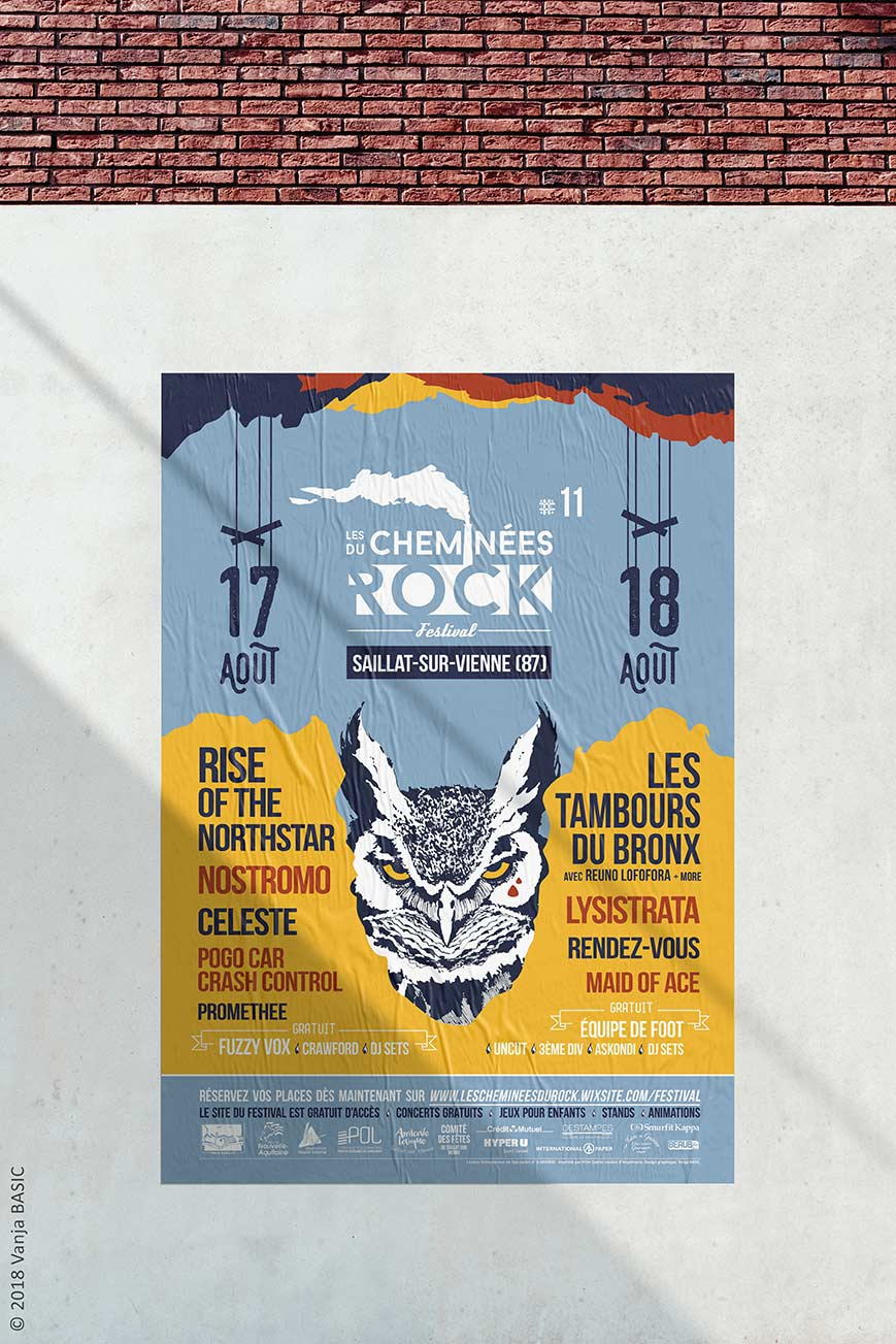 Affiche de l'édition 2018 du festival Les Cheminées du Rock, à Saillat-sur-Vienne