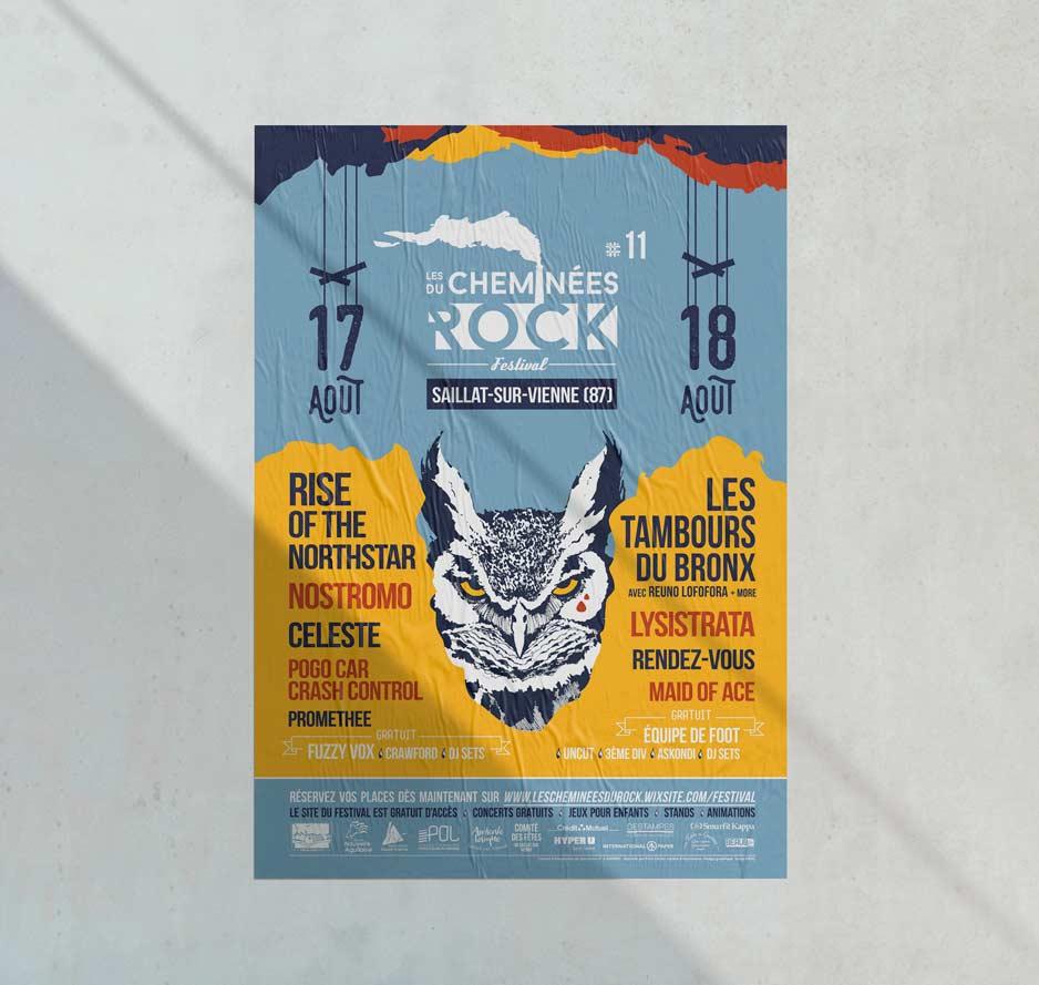 Affiche de la 11ème édition du festival Les Cheminées du Rock, par Vanja BASIC, graphiste et illustratrice à Bordeaux