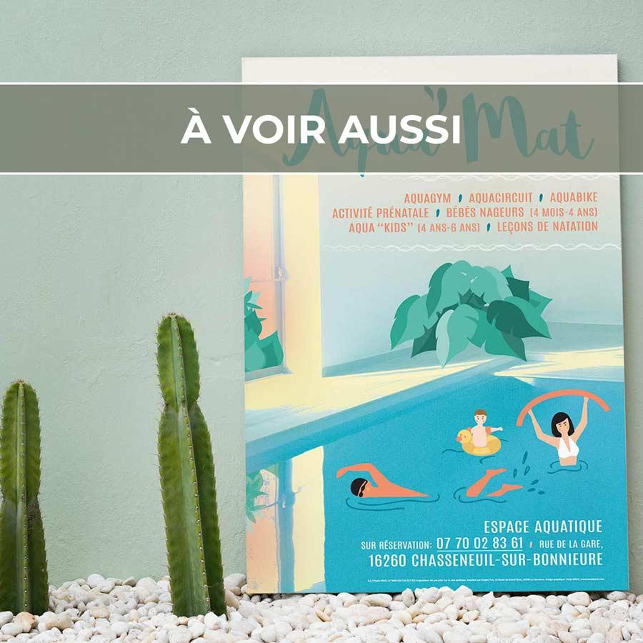Renvoi au projet d'affiche pour l'espace aquatique «Aqua'Mat» à Chasseneuil-sur-Bonnieure