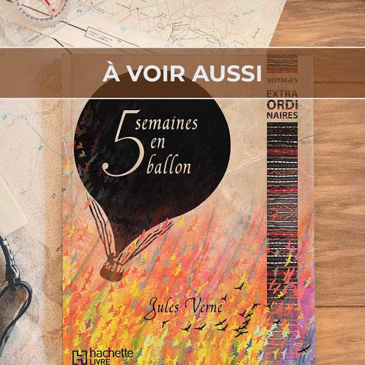 Renvoi au projet de couverture de livre pour «Cinq semaines en ballon» de Jules Verne