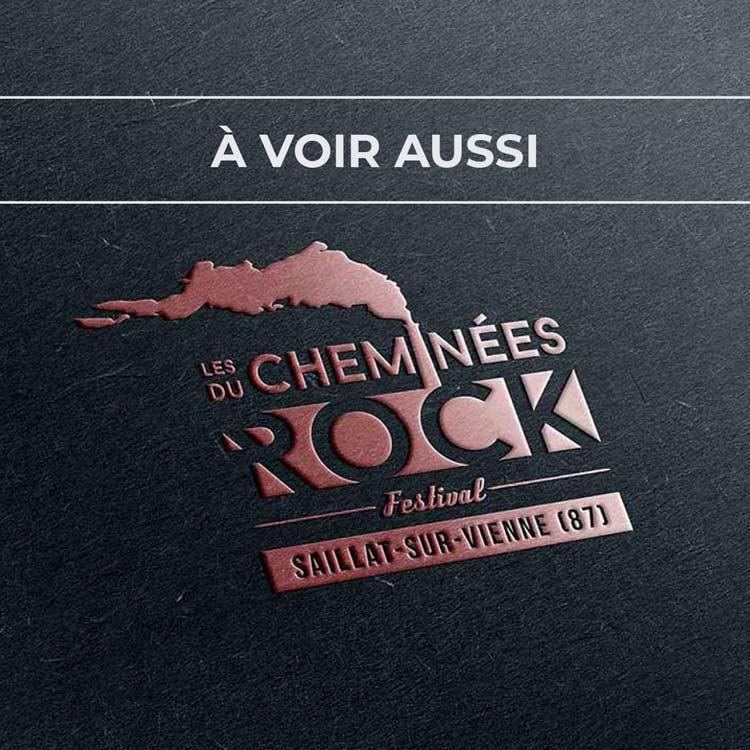 Renvoi au projet de logo pour le festival Les Cheminées du Rock, à Saillit-sur-Vienne