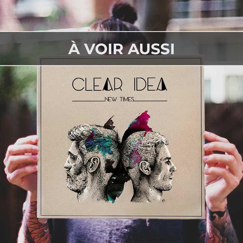 Renvoi au projet de pochette d'album «New Times» et logo pour Clear Idea, groupe de pop rock anglophone