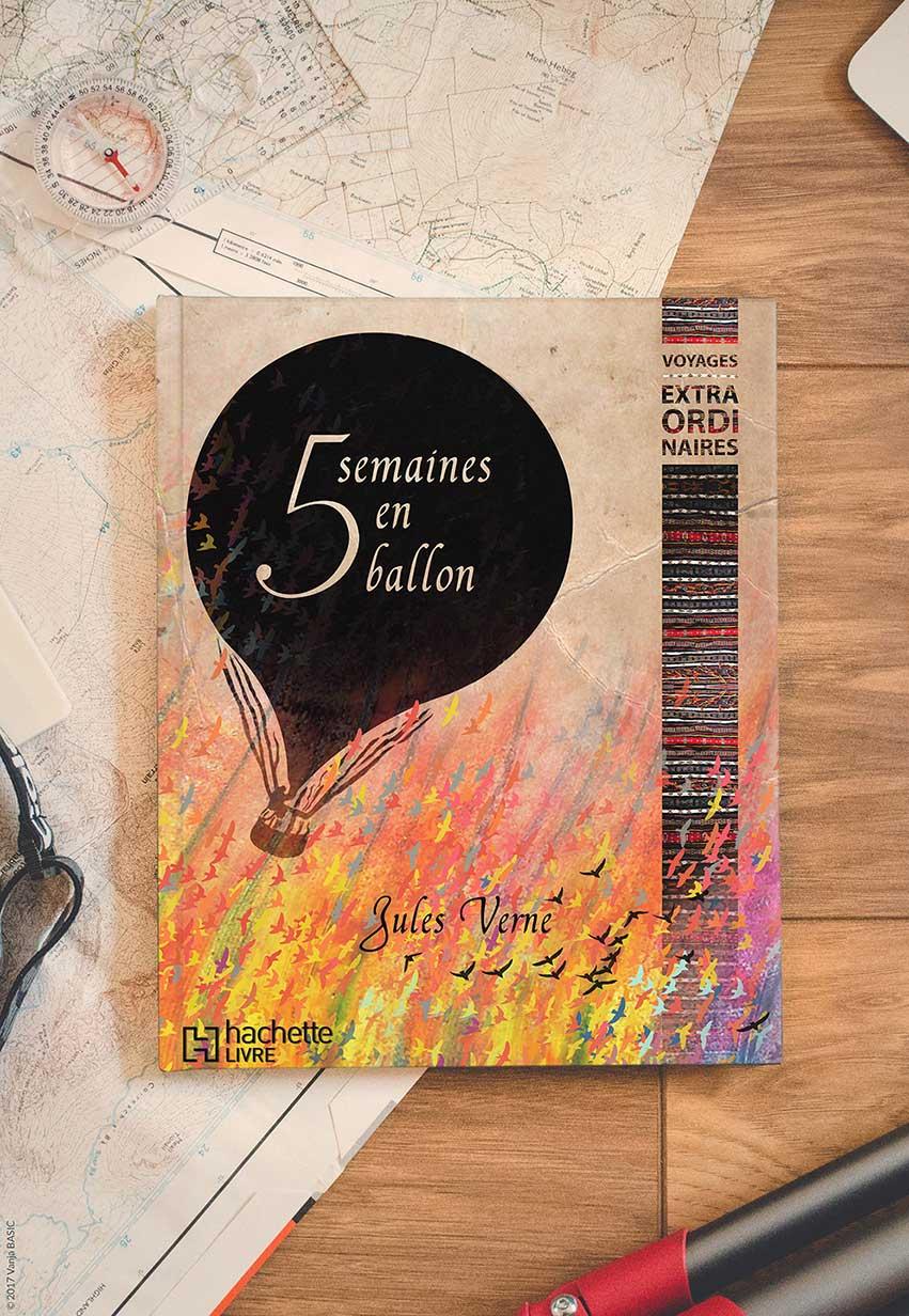 Couverture pour le roman de voyage «Cinq semaines en ballon» de Jules Verne