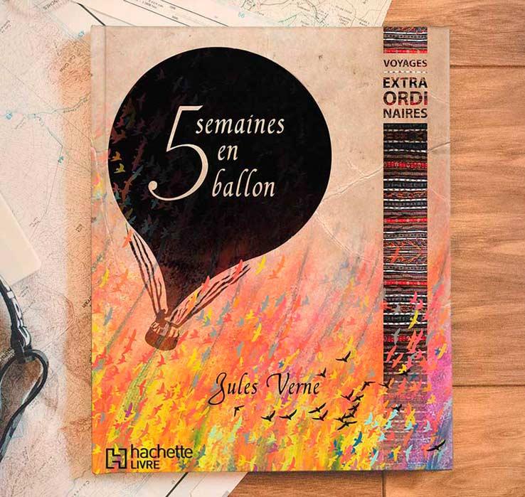 Couverture pour le roman de voyage «Cinq semaines en ballon» de Jules Verne, par Vanja BASIC, graphiste et illustratrice à Bordeaux