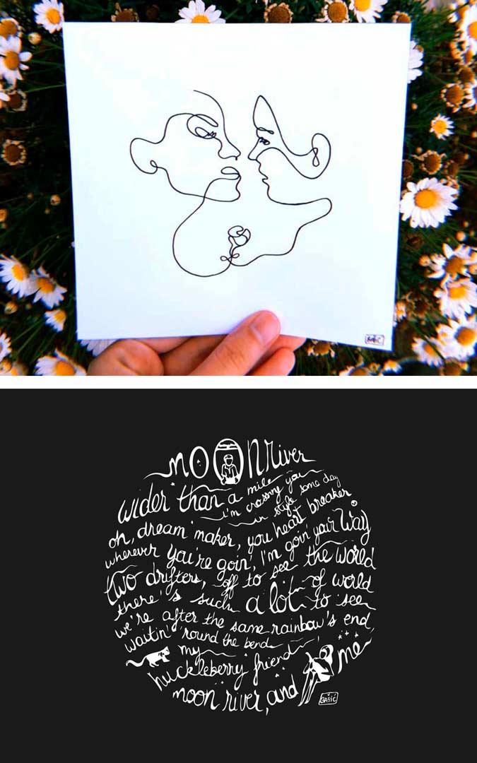 Dessin en un trait et travail de lettrage sur un calligramme, par Vanja BASIC
