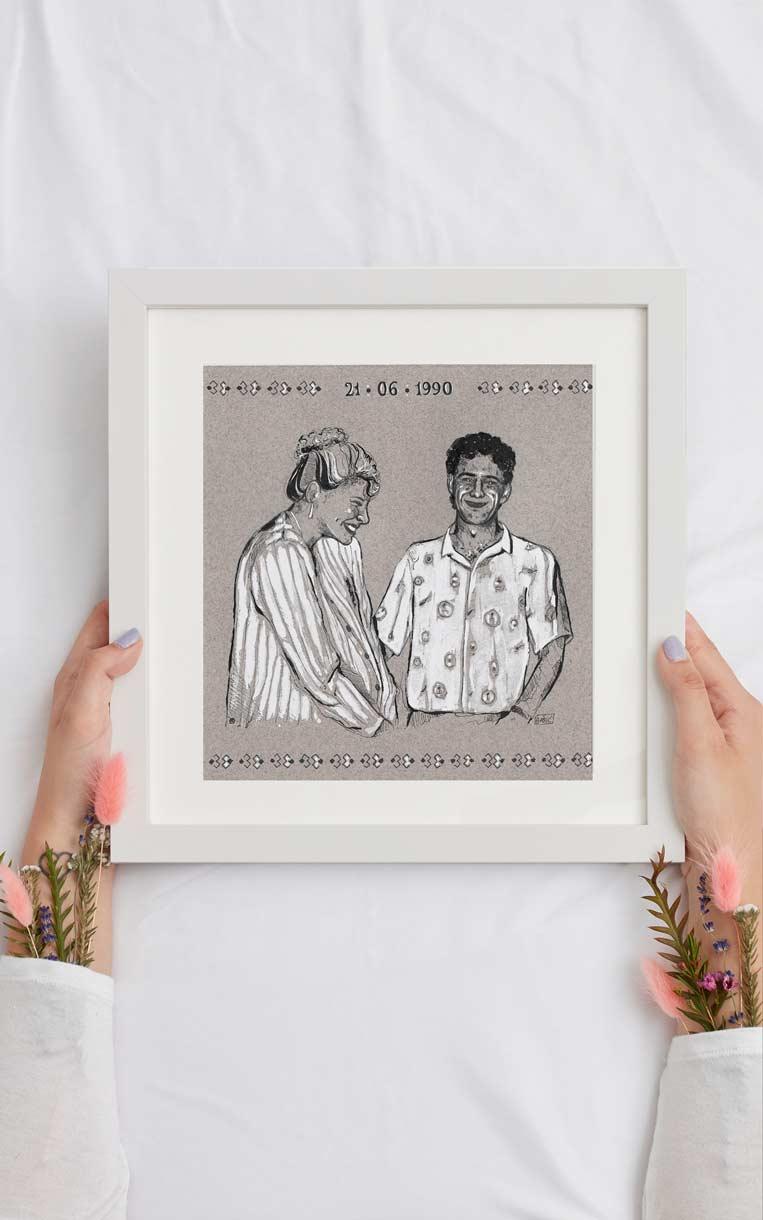 Dessin sur papier Mi-Teintes, pour un anniversaire de mariage, par Vanja BASIC, graphiste et illustratrice à Bordeaux
