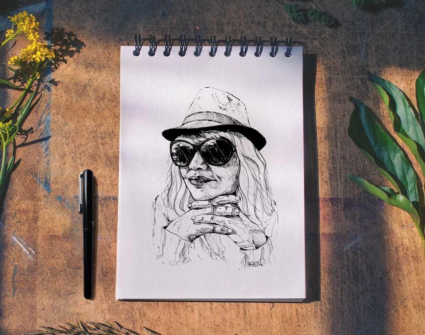 """""""Marie"""", portrait dessiné à l'encre de Chine, par Vanja BASIC, graphiste et illustratrice à Bordeaux"""