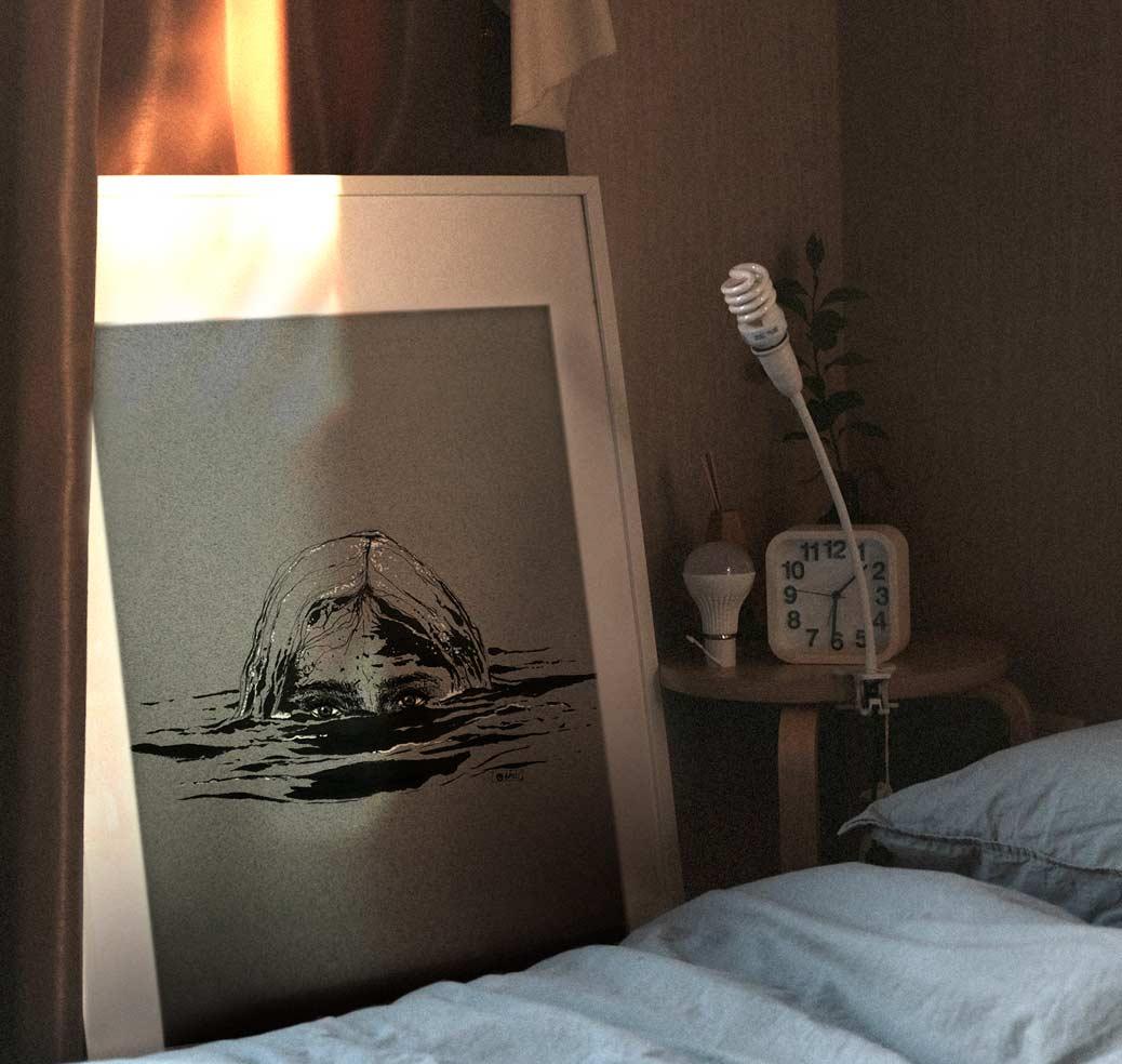 """""""Muddy"""", dessin à l'encre de Chine et posca blanc sur papier Mi-Teintes"""