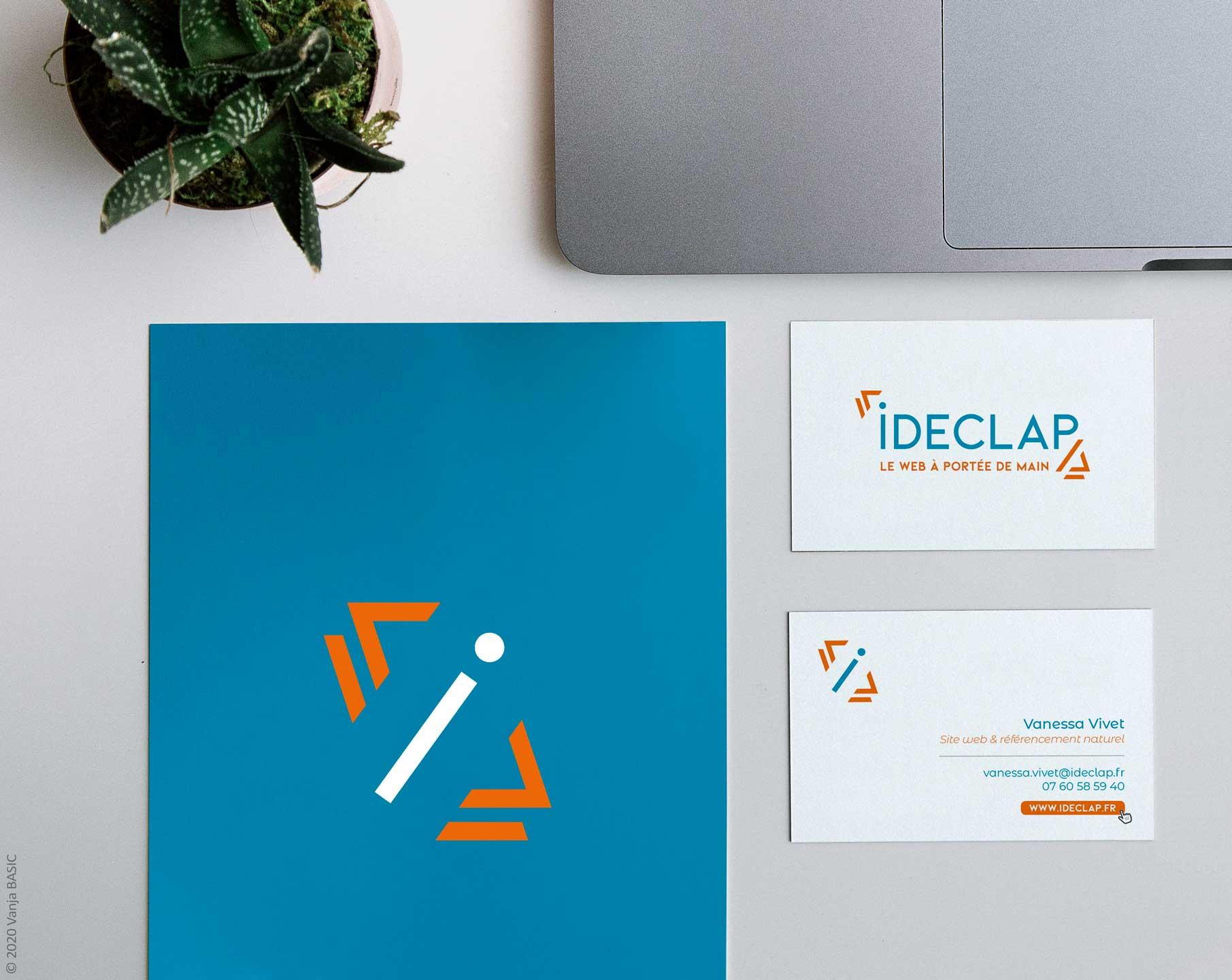 Logo et carte de visite pour Ideclap, expert du web. Communication visuelle institutionnelle, Vanja Basic.