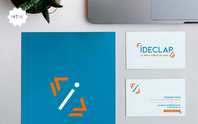 Logo et carte de visite pour Ideclap, par Vanja BASIC, graphiste et illustratrice à Bordeaux