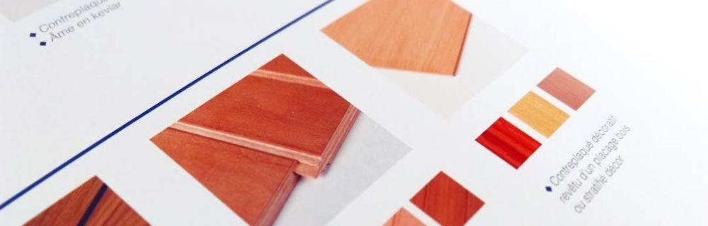 Intérieur de la brochure commerciale pour Toubois, fabricant de panneaux décoratifs et techniques