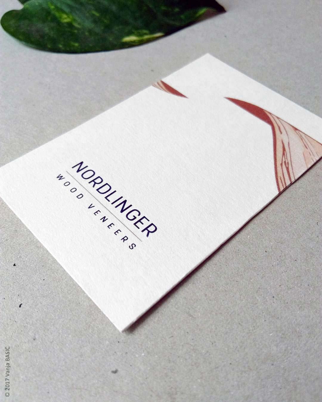 Recto de la carte de visite pour Nordlinger Wood Veneers, négociant en bois de placage