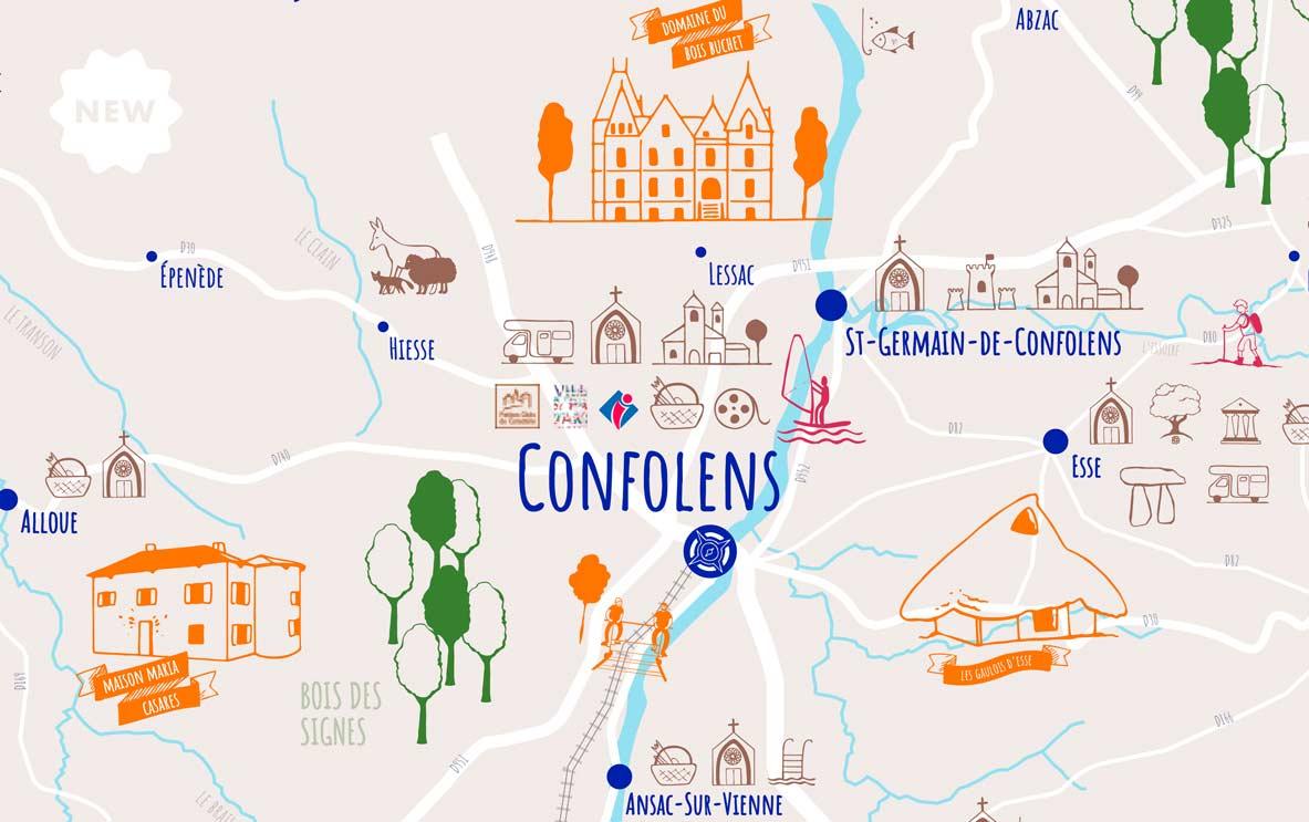 Illustrations pour les cartes touristiques de la Communauté de Communes de Charente Limousine, par Vanja BASIC, graphiste et illustratrice à Bordeaux