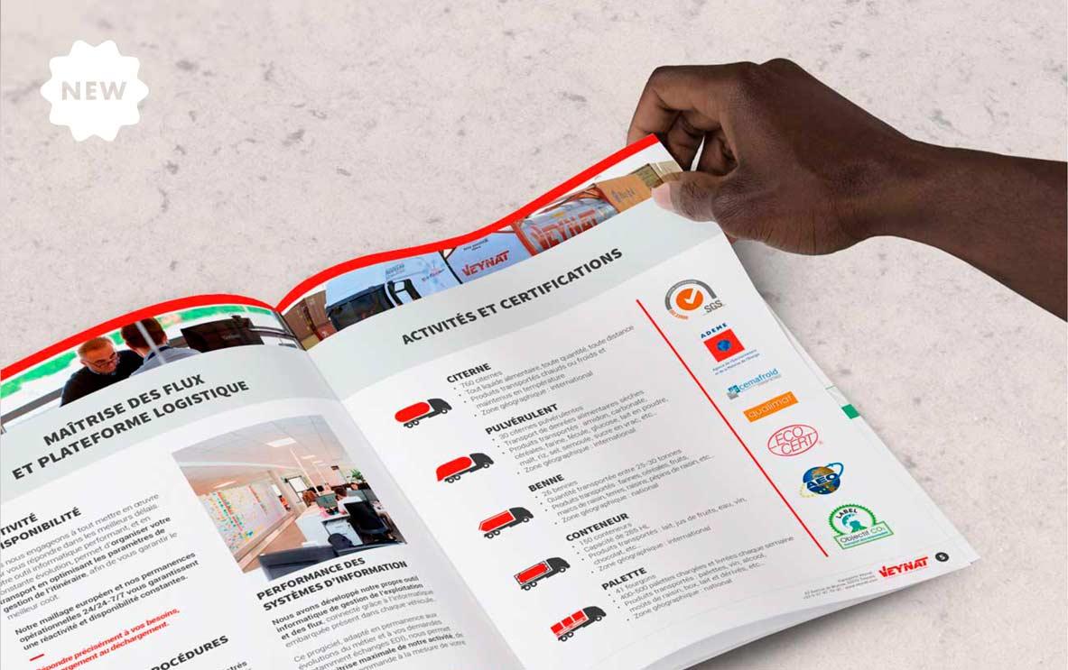 Brochure commerciale pour Veynat, par Vanja BASIC, graphiste et illustratrice à Bordeaux