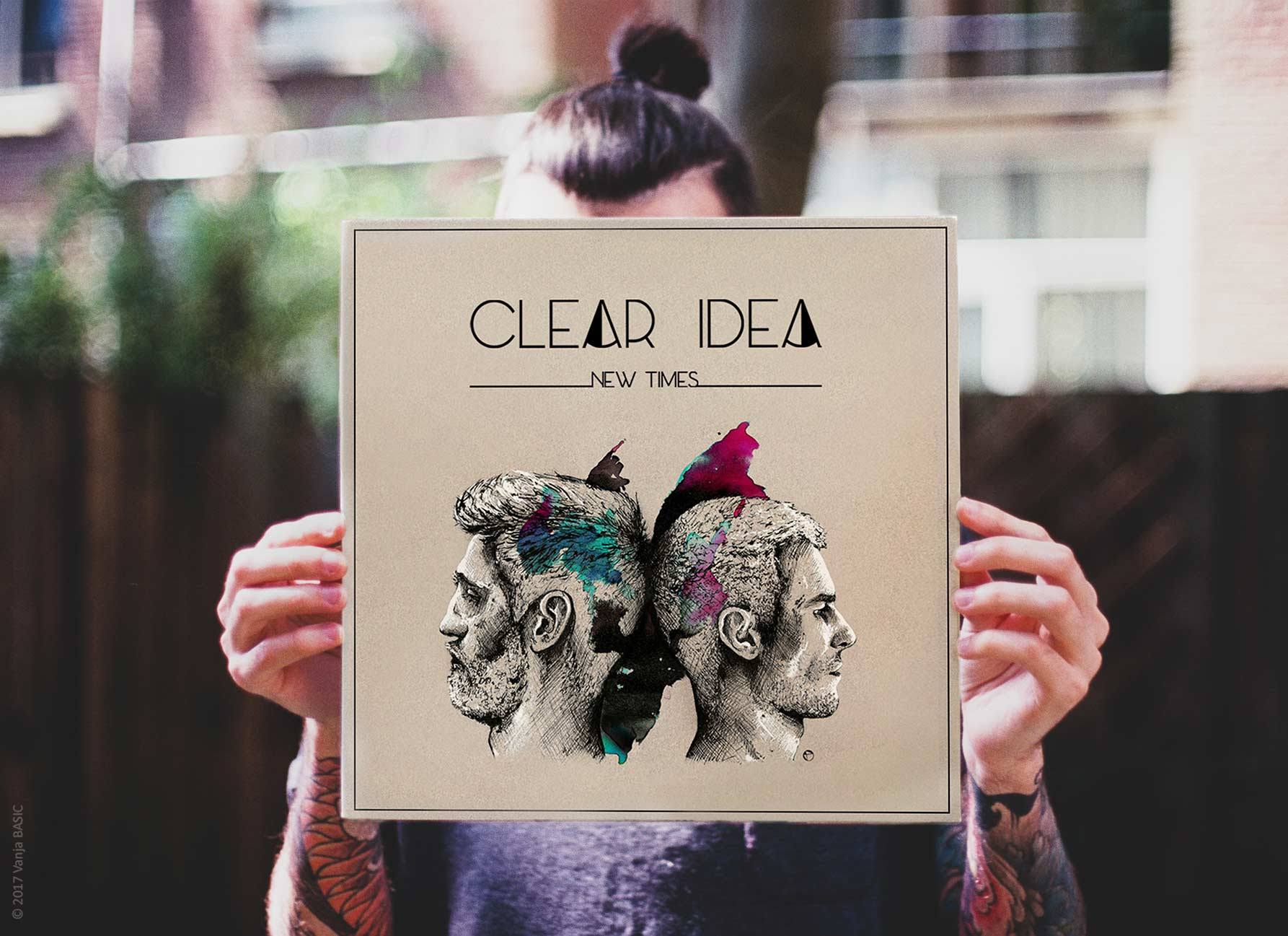 Pochette d'album « New Times » et logo pour Clear Idea, groupe de pop rock anglophone