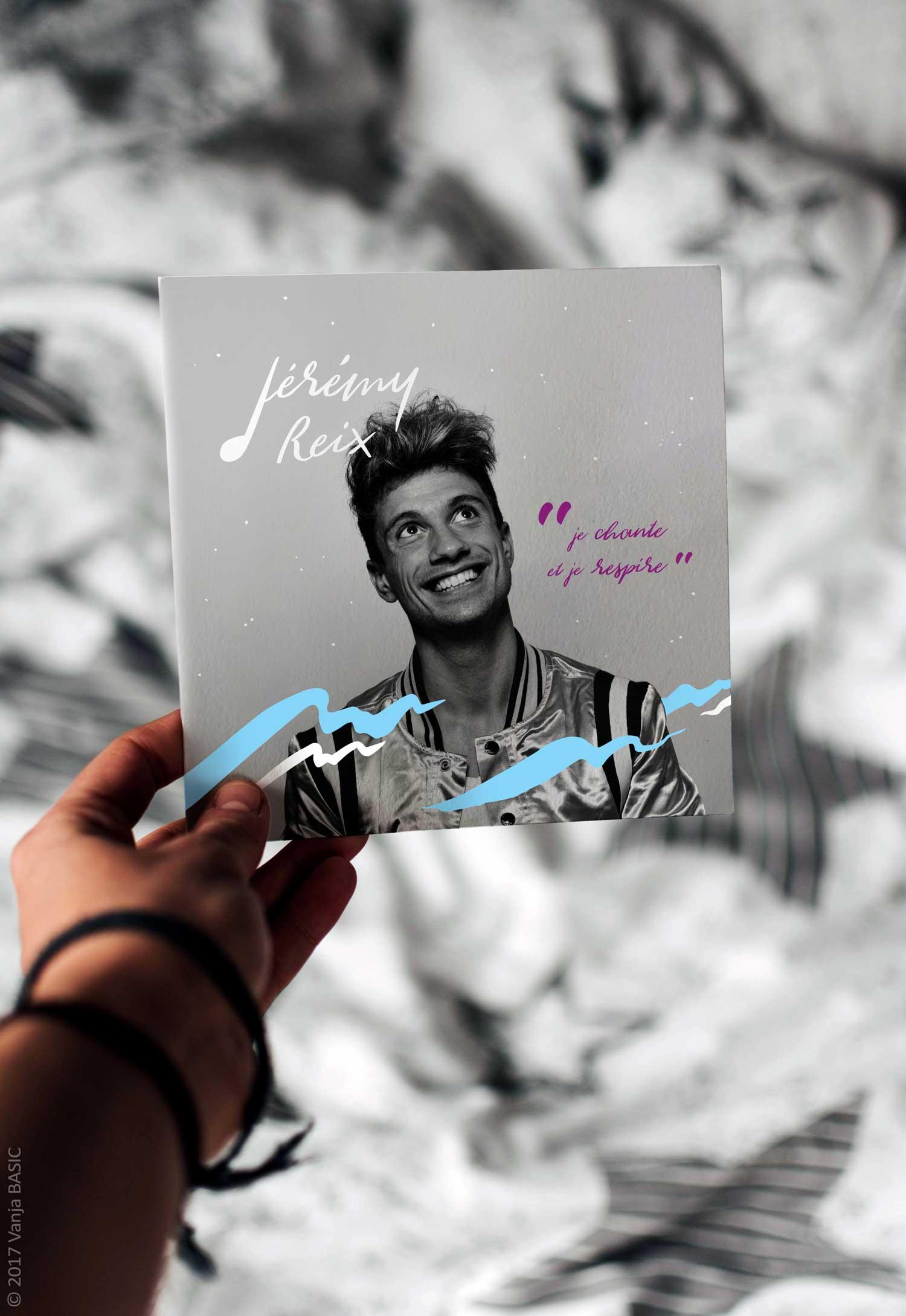 Pochette pour l'album «Je chante et je respire» de Jérémy Reix, chanteur de variété française
