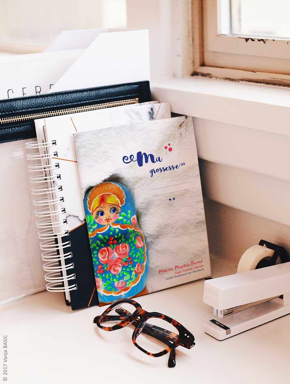Porte-documents «Ma grossesse» destiné aux futures mères, pour Mathilde Marjollet-Prevotel, sage-femme libérale