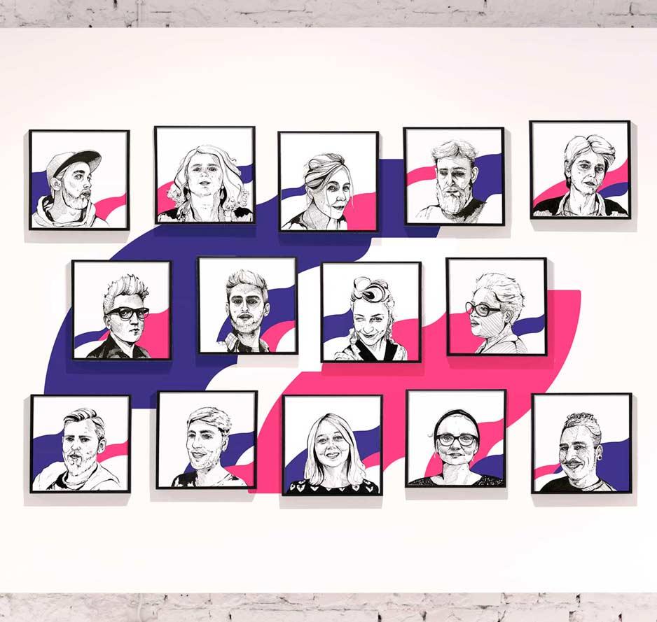Portraits d'équipe pour La Nef, par Vanja BASIC, graphiste et illustratrice à Bordeaux