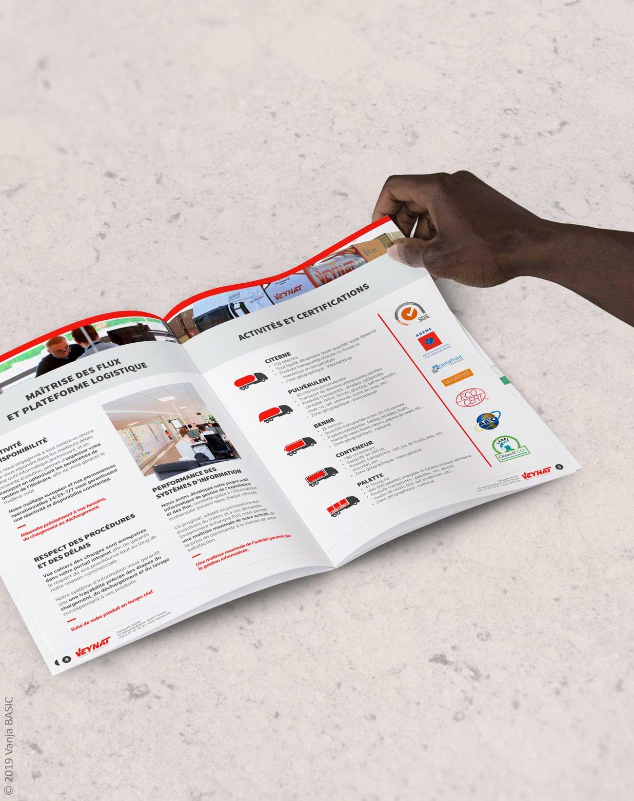 Brochure commerciale pour Veynat, leader français en transport de liquides alimentaires